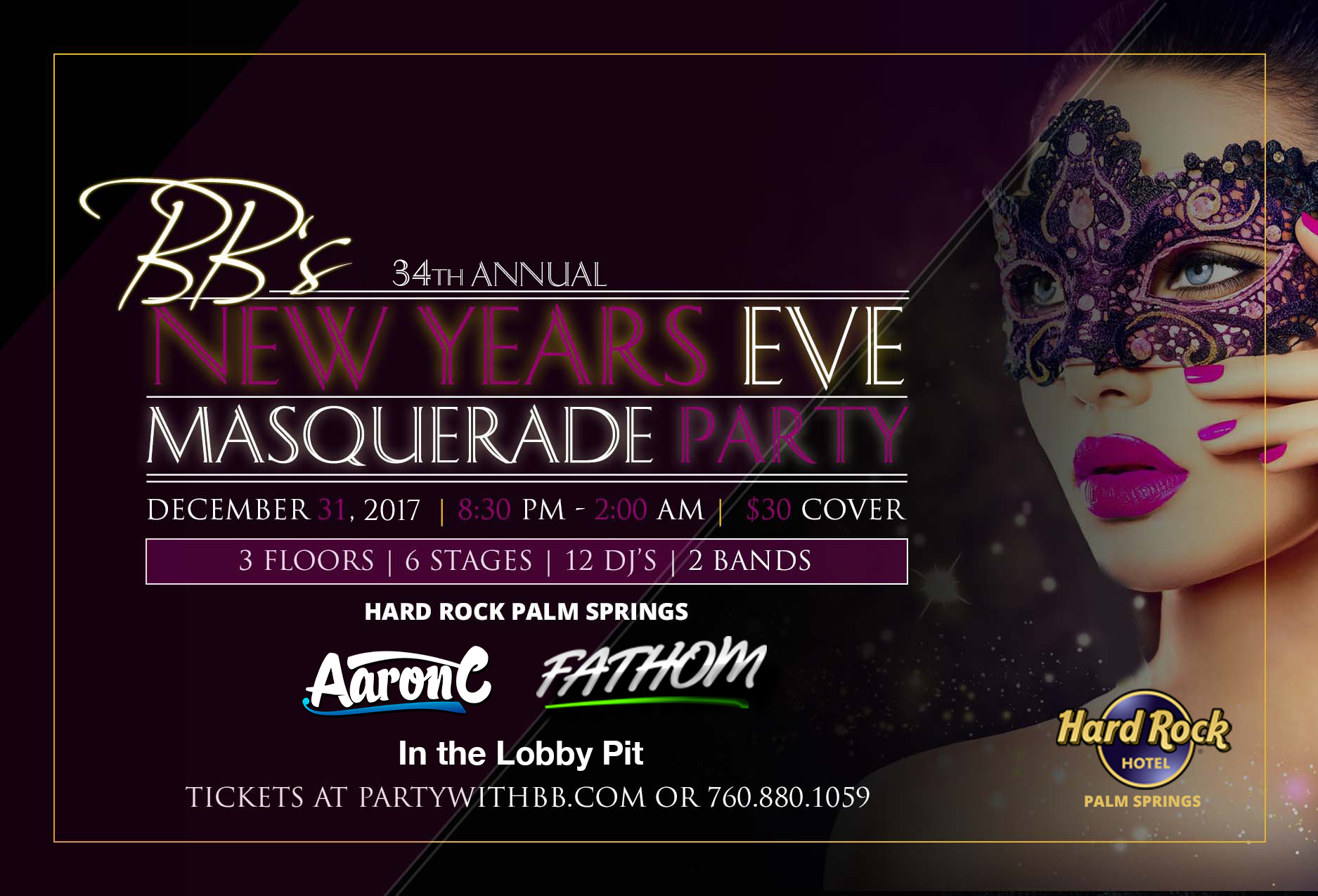 BB's 34th Annual NYE Masquerade Party with Aaron C